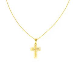 Gargantilla oro amarillo 18kts cruz circonitas