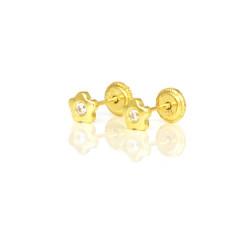 Pendientes oro amarillo 18 kts flor con circonita