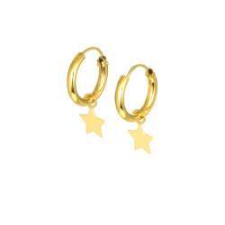 Pendientes aros oro amarillo 18 kts estrella