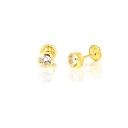 Pendientes oro amarillo 18 kts exagonal con circonita