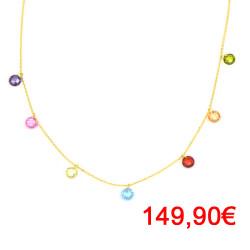Gargantilla oro 18 Kts piedras multicolores