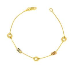 Pulsera oro tricolor 18 kts motivos mujer