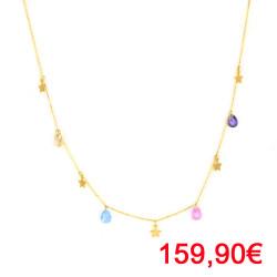 Gargantilla oro de 18kts estrellas y piedras multicolor