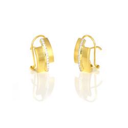 Pendientes oro 18 kts bicolor circonitas