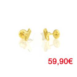 Pendientes oro amarillo 18 kts estrella nacar