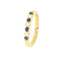 Anillo oro 18 Kts diamantes y zafiros azules