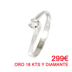 ANILLO ORO BLANCO 18 KTS CON DIAMANTE