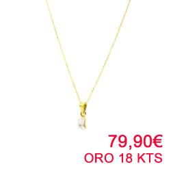 Gargantilla oro amarillo de 18 kts  con circonita