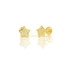 Pendientes oro 18 kts amarillo estrellas circonitas
