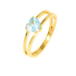 Sortija oro amarillo corazón piedra azul