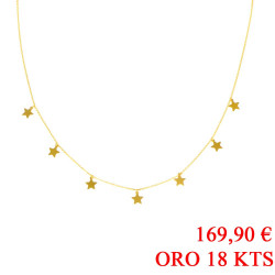 Gargantilla estrellas oro amarillo 18kts
