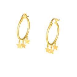 Pendientes oro  amarillo18 kts estrellas