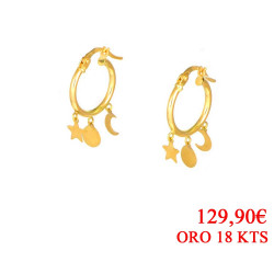 Pendientes oro  amarillo18 kts colgantes