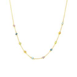 Gargantilla piedras multicolor oro 18 Kts