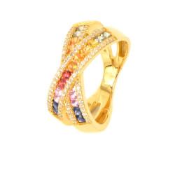 Anillo oro 18 kilates diamantes y zafiros