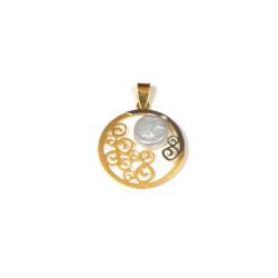 Colgante perla de río y oro de18 kts