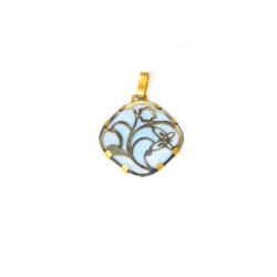 Colgante oro amarillo de18 kts piedra azul