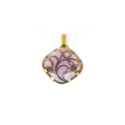 Colgante oro amarillo de18 kts piedra lila