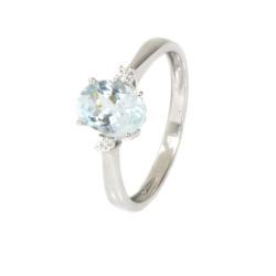 Anillo diamantes aguamarina oro blanco 18 kilates