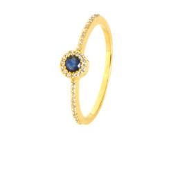Anillo diamantes y zafiro oro amarillo 18 kilates