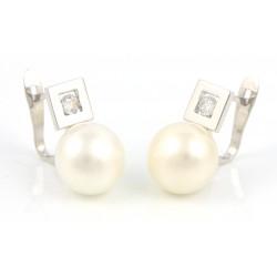 Pendientes oro 18 kts blanco con perla y circonita