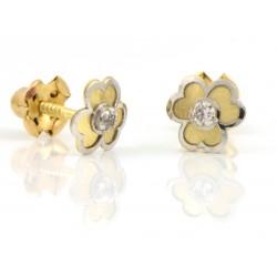Pendientes oro 18 kts bicolor flor